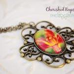 Red Lily Flower Photo Pendant Neckl..