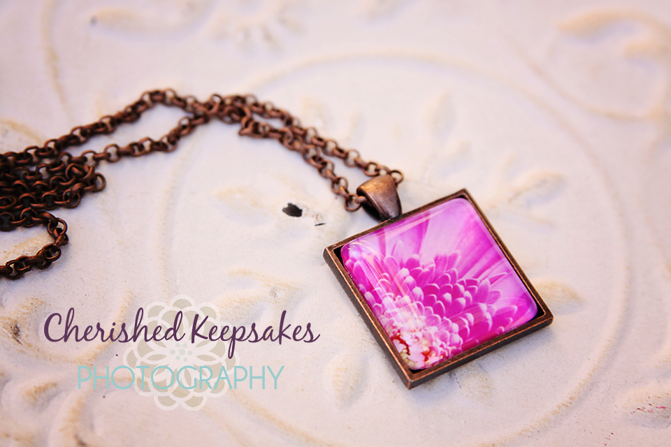 Fuschia Daisy Flower Photo Pendant Necklace