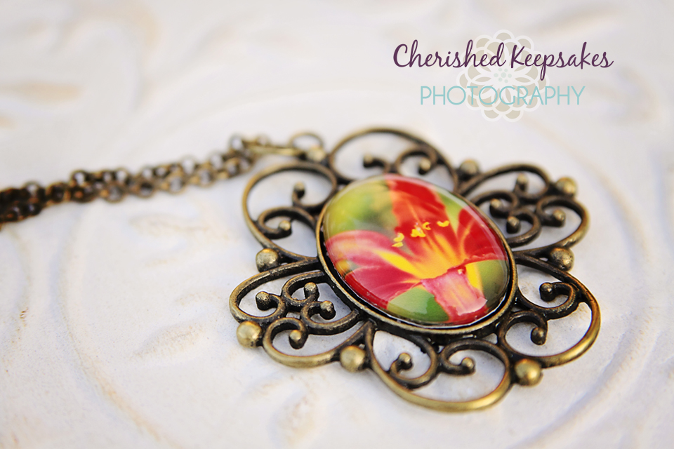 Red Lily Flower Photo Pendant Necklace