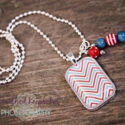 Chevron Love Glass Pendant Necklace Red/Blue