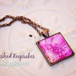 Fuschia Daisy Flower Photo Pendant Necklace